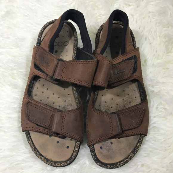 7285a0c57fbe Ecco Shoes - ECCO BROWN LEATHER VELCRO STRAP SANDALS SZ 6